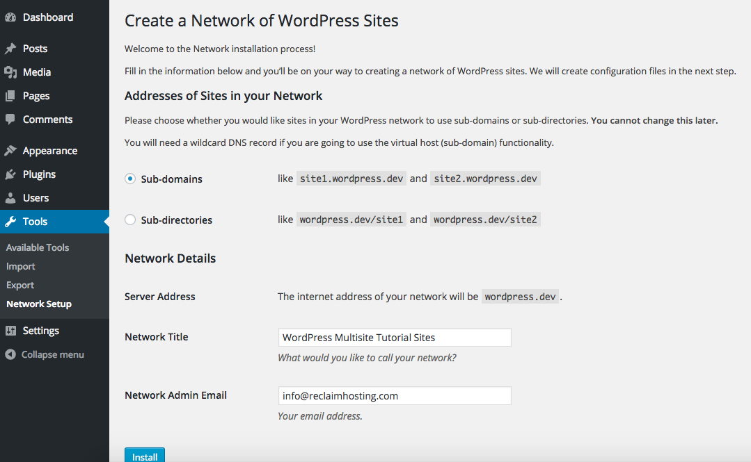 WordPress Multisite Network Setup Page