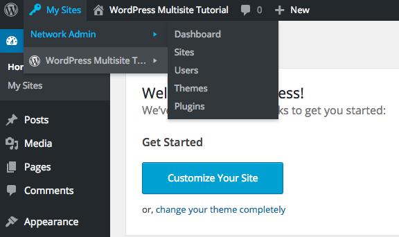 New Multisite Admin Bar