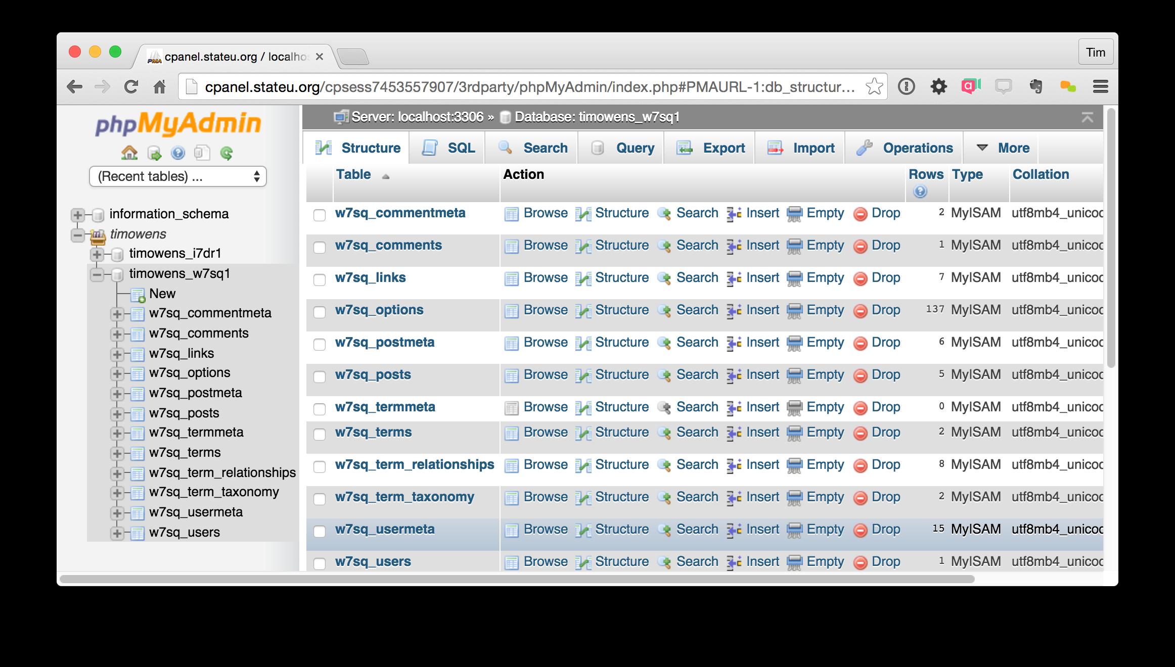 Screenshot of phpMyAdmin