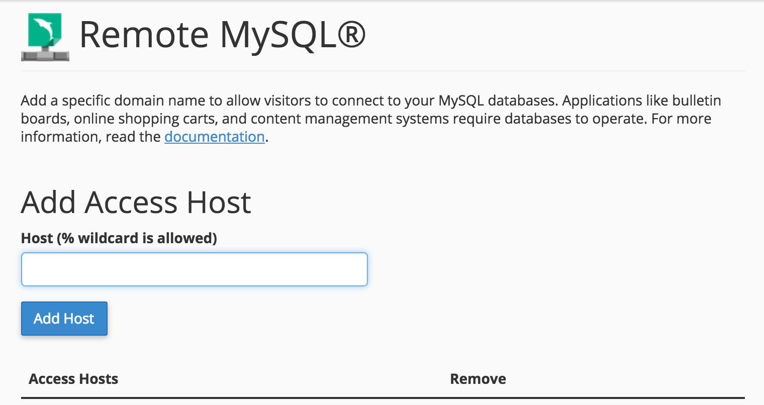 Remote MySQL