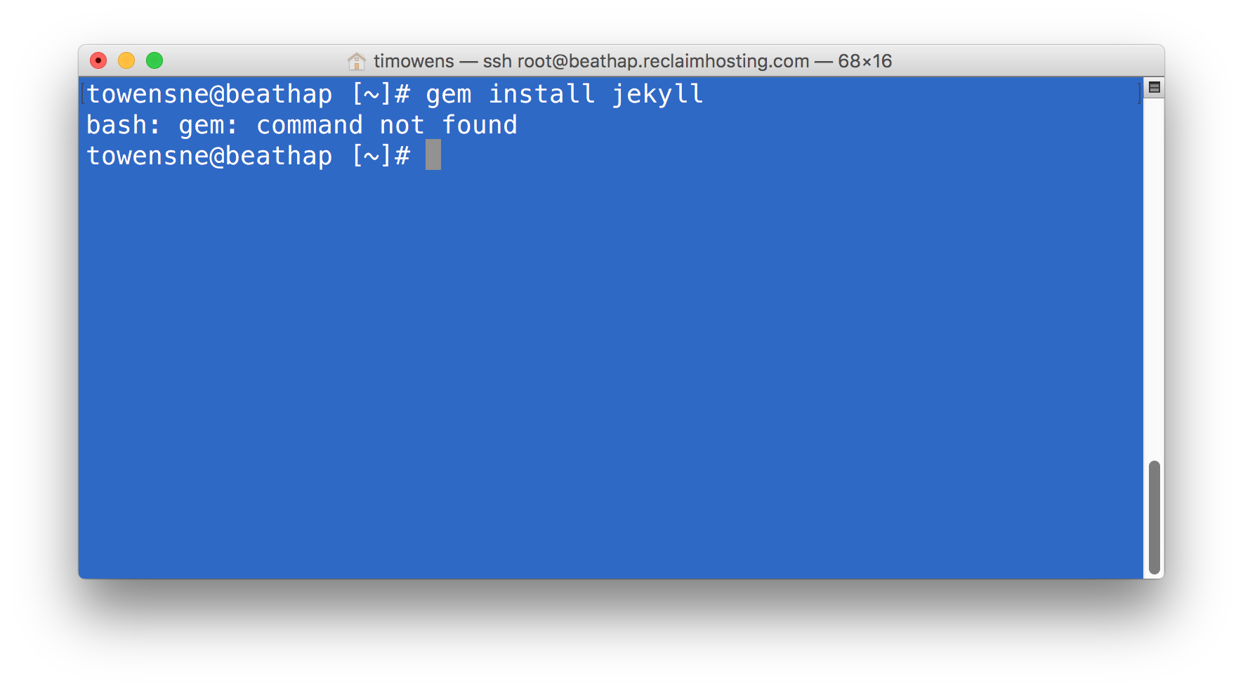 "Jekyll Gem Error ""gem command not found"""