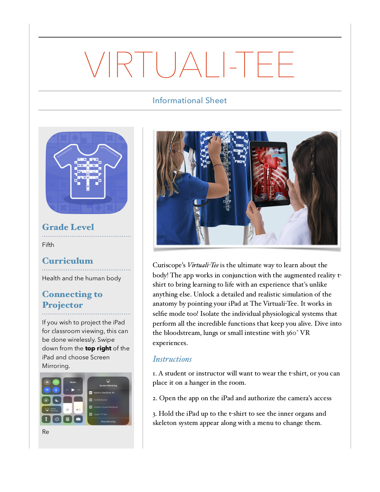 Virtuali-Tee Instructional Sheet